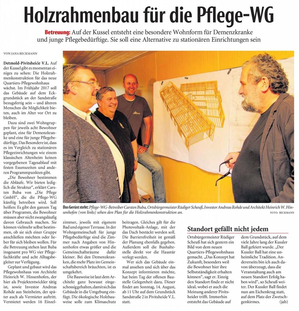 Presseartikel: Holzrahmenbau für die Pflege-WG